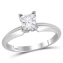 1 CTW Womens Princess Diamond Solitaire Bridal Wedding Engagement Ring 14kt White Gold - REF-377T6V