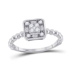1/4 CTW Womens Round Diamond Square Cluster Ring 10kt White Gold - REF-23H9R