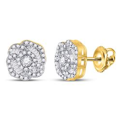 3/8 CTW Womens Round Diamond Fashion Earrings 10kt Yellow Gold - REF-29T9V