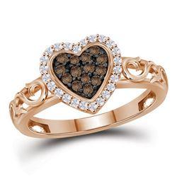 1/4 CTW Womens Round Brown Diamond Heart Ring 10kt Rose Gold - REF-23F9W