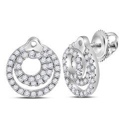 1/2 CTW Womens Round Diamond Circle Earrings 14kt White Gold - REF-51H8R