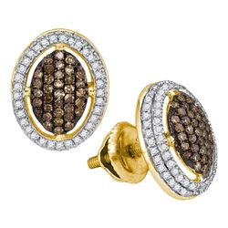 1/2 CTW Womens Round Brown Diamond Oval Cluster Earrings 10kt Yellow Gold - REF-32W7H