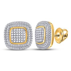 1/6 CTW Womens Round Diamond Square Cluster Earrings 10kt Yellow Gold - REF-34R3X