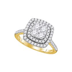 1 CTW Womens Round Diamond Square Double Halo Cluster Ring 14kt Yellow Gold - REF-90H5R