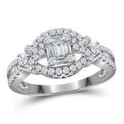 3/4 CTW Baguette Diamond Square Bridal Wedding Engagement Ring 18kt White Gold - REF-150W2H