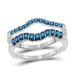 1/3 CTW Womens Round Blue Color Enhanced Diamond Wrap Enhancer Wedding Band Ring 14kt White Gold - R