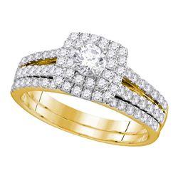 1 CTW Round Diamond Halo Bridal Wedding Ring 14kt Yellow Gold - REF-102X5T