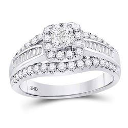 1 CTW Princess Diamond Cluster Bridal Wedding Engagement Ring 14kt White Gold - REF-114V5Y