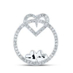 1/5 CTW Womens Round Diamond Circle Heart Pendant 10kt White Gold - REF-16A4M