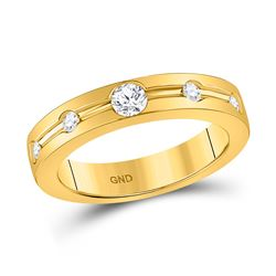 1/4 CTW Womens Round Diamond Wedding Band Ring 14kt Yellow Gold - REF-61N4A