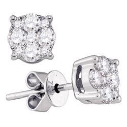 1 & 3/8 CTW Womens Round Diamond Cluster Stud Earrings 18kt White Gold - REF-252R3X