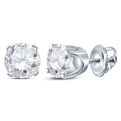 1 CTW Womens Round Diamond Solitaire Earrings 14kt White Gold - REF-115N8A