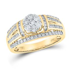 1 CTW Round Diamond Cluster Bridal Wedding Engagement Ring 10kt Yellow Gold - REF-78Y5N
