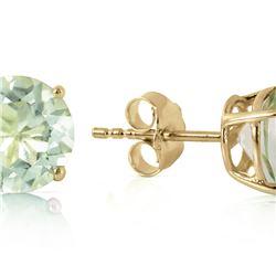 Genuine 3.1 ctw Green Amethyst Earrings 14KT Yellow Gold - REF-23P9H