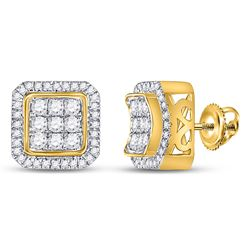 7/8 CTW Mens Round Diamond Square Cluster Earrings 10kt Yellow Gold - REF-63T5V