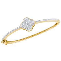 3/8 CTW Womens Round Diamond Quatrefoil Cluster Bangle Bracelet 10kt Yellow Gold - REF-65H4R