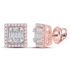 3/8 CTW Womens Baguette Diamond Square Cluster Earrings 14kt Rose Gold - REF-47W6H