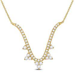 1/4 CTW Womens Round Diamond Modern-V Fashion Necklace 14kt Yellow Gold - REF-37R5X