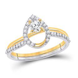 1/2 CTW Round Diamond Bridal Wedding Ring 10kt Two-tone Gold - REF-68X2T