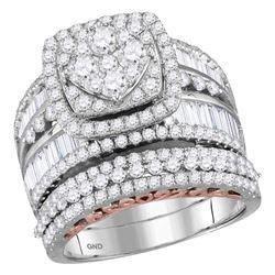 2 & 1/2 CTW Round Diamond Bridal Wedding Ring 14kt Two-tone Gold - REF-242Y3N