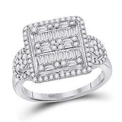 7/8 CTW Womens Baguette Diamond Square Cluster Ring 14kt White Gold - REF-95X5T