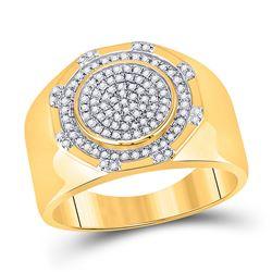 1/3 CTW Mens Round Diamond Statement Cluster Ring 10kt Yellow Gold - REF-61H9R