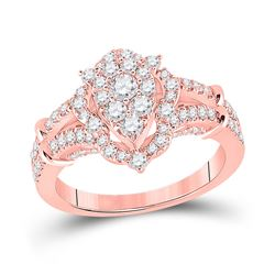 1 CTW Womens Round Diamond Oval Cluster Ring 14kt Rose Gold - REF-95Y5N