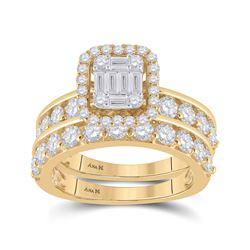 2 & 1/5 CTW Baguette Diamond Bridal Wedding Ring 14kt Yellow Gold - REF-211A4M