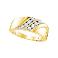1/2 CTW Mens Round Diamond Wedding Band Ring 10kt Yellow Gold - REF-49N6A