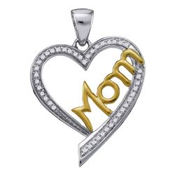 1/8 CTW Womens Round Diamond Heart Mom Mother Pendant 10kt Two-tone Gold - REF-17X6T