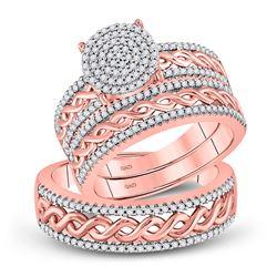 5/8 CTW His Hers Round Diamond Cluster Matching Wedding Set 10kt Rose Gold - REF-79W3H