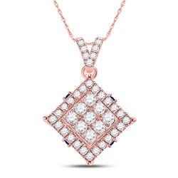 1/2 CTW Womens Round Diamond Offset Square Cluster Pendant 14kt Rose Gold - REF-40M8F