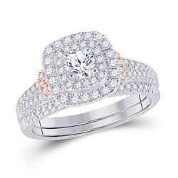 1 CTW Round Diamond Bridal Wedding Ring 14kt Two-tone Gold - REF-136R4X
