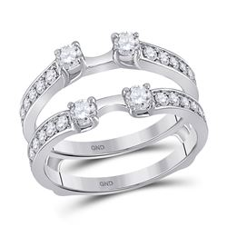 1 CTW Womens Round Diamond Wedding Wrap Ring 14kt White Gold - REF-112X5T