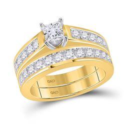 2 CTW Princess Diamond Bridal Wedding Ring 14kt Yellow Gold - REF-313R6X
