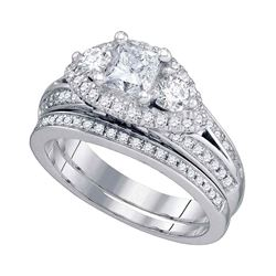 1 & 3/4 CTW Princess Diamond Bridal Wedding Ring 14kt White Gold - REF-589H3R