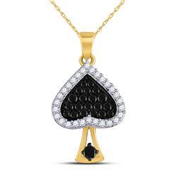 1/2 CTW Womens Round Black Color Enhanced Diamond Spade Pendant 10kt Yellow Gold - REF-20V5Y