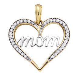 1/8 CTW Womens Round Diamond Heart Mom Mother Pendant 10kt Yellow Gold - REF-13F5W