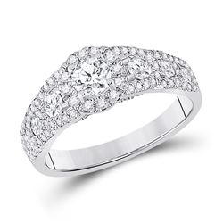 1 & 1/4 CTW Round Diamond Halo Bridal Wedding Engagement Ring 14kt White Gold - REF-143F2W