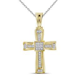 1/10 CTW Mens Round Diamond Cross Charm Pendant 10kt Yellow Gold - REF-31R4X