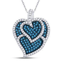 1 CTW Womens Round Blue Color Enhanced Diamond Tripled Heart Outline Pendant 10kt White Gold - REF-3