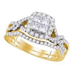 1 CTW Princess Diamond Bridal Wedding Ring 10kt Yellow Gold - REF-96M2F