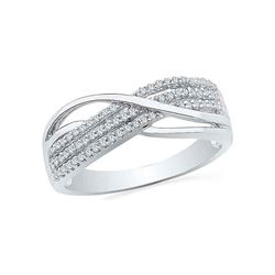 1/5 CTW Womens Round Diamond Crossover Band Ring 10kt White Gold - REF-26Y5N