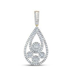 5/8 CTW Womens Round Diamond Teardrop Pendant 10kt Yellow Gold - REF-34N3A