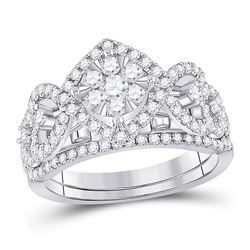 1 CTW Round Diamond Bridal Wedding Ring 14kt White Gold - REF-105X7T