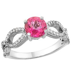 1.25 CTW Pink Topaz & Diamond Ring 10K White Gold - REF-49F8N