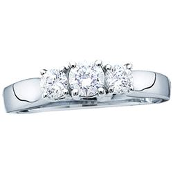 1 CTW Round Diamond 3-stone Bridal Wedding Engagement Ring 14kt White Gold - REF-131H5R
