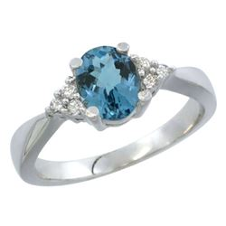 1.06 CTW London Blue Topaz & Diamond Ring 14K White Gold - REF-37M2K
