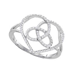 1/6 CTW Womens Round Diamond Heart Triquetra Trinity Ring 10kt White Gold - REF-21M2F