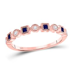 1/8 CTW Womens Princess Blue Sapphire Diamond Stackable Band Ring 10kt Rose Gold - REF-19R2X